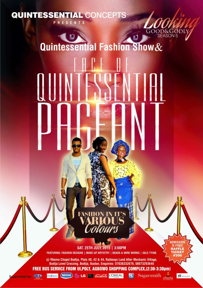 """FACE OF QUINTESSENTIAL PAGEANT"" Looking Good and Godly Season 5. It's Tomorrow!!!"